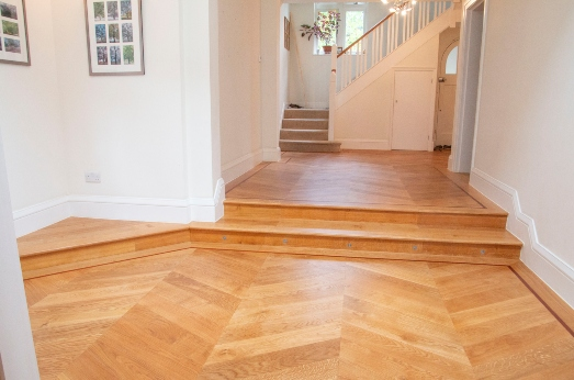 parquet wood floor with multiple levels